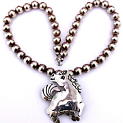 REDUCED Native American Sterling Galloping Horse Pendant