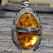 REDUCED Native American Vintage One of a Kind Amber Silver Pendant