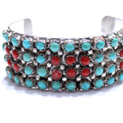 REDUCED Native American Zuni Panteah Turquoise and Coral Cuff Bracelet