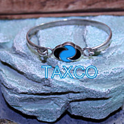 Vintage Taxco .925 Turquoise and Onyx snap Bracelet