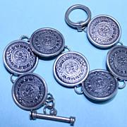 REDUCED Vintage Taxco Mexico .925 Aztec Sunstone Toggle Bracelet