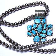 REDUCED Native American Navajo Kingman Free Form Turquoise Stone Cross Pendant