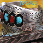 REDUCED Native American Heavy Shadowbox Turquoise and Coral Cuff Bracelet
