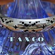 Vintage Taxco .925 Hallmarked Shadowbox Style Hinge Bangle Bracelet