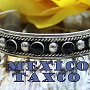 Vintage Onyx Taxco Sterling Cuff Bracelet