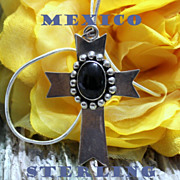 REDUCED Vintage Mexico Sterling Onyx Cabochon Cross