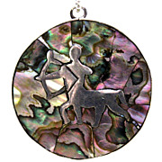 REDUCED Taxco Mexico Abalone Zodiac Sign Necklace