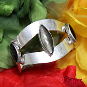 Taxco Mexico Eagle 3 Gold Sheen Obsidian Cuff Bracelet