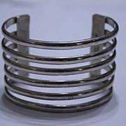 Taxco Six Strand  Wide Silver Cuff Bracelet