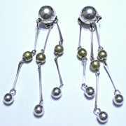 Taxco 4 Inch Sterling with Brass Beads Dangle Earrings