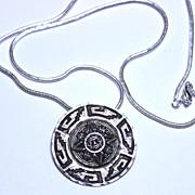 Taxco Aztec Calendar Stone Pendant