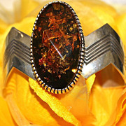 REDUCED Native American Sterling Baltic Amber Cuff Bracelet
