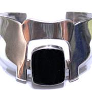 Taxco Sterling Temple Design Cuff Bracelet