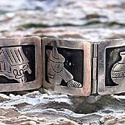 Taxco Damaso Gallegos Traditional 5 Panel Silver Bracelet