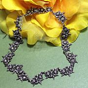 REDUCED Vintage Margot de Taxco Rose Motif Links Silver Necklace