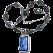 REDUCED Vintage Sterling Labradorite Pendant and Necklace