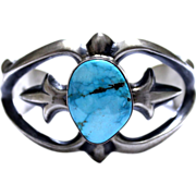 REDUCED Native American Sterling Fox Turquoise Sandcast Cuff
