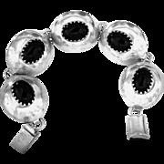 REDUCED Taxco Sterling Onyx Link Bracelet