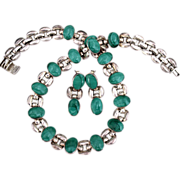 REDUCED Taxco .950 Silver Malachite Link Necklace Set.