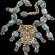 Vintage Accessocraft N.Y.C. Aventurine Seahorse Medallion Necklace