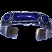 REDUCED Native American Navajo Sterling Lapis Cuff Bracelet