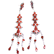 REDUCED Native American Sterling Long Dangle Earrings