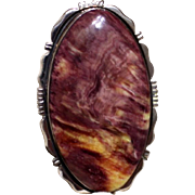 REDUCED Native American Navajo Sterling Purple Yellow Spiny Oyster Ring
