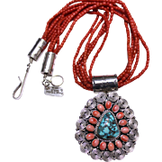 REDUCED Native American Coral and Turquoise Necklace