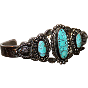 REDUCED Native American Sterling Spider Web Turquoise Cuff