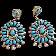 REDUCED Native American Zuni Sleeping Beauty Turquoise Earrings