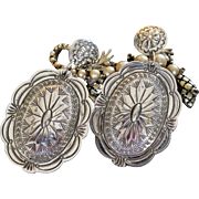 Native American Navajo Sterling Concho Earrings
