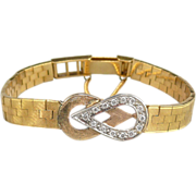 SALE Art Deco 18K Gold and Diamond Carl Bucherer Bracelet