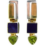 SOLD Peridot, Lapis and Silver Door Knocker Style Earrings