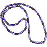 SOLD Chinese Enamel Amethyst and Lapis Necklace 34""