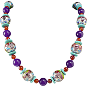 """SALE Chinese Enamel Lucky Bat, Carnelian and Turquoise Bead Necklace 26"""""""