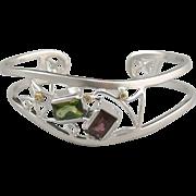 SALE Tourmaline, Diamond, 18K and Sterling Silver Cuff Bracelet