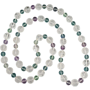 """Chinese Carved Rock Crystal Shou Bead and Rainbow Fluorite Necklace 32"""""""