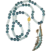 Chinese Enamel on Silver Shrimp with Aquamarine and Blue Green Fluorite Necklace 27""