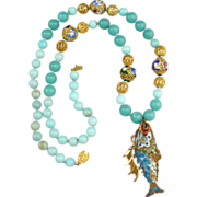 SOLD Chinese Gilt Silver Enamel Dragon Fish and Amazonite Necklace 27""