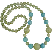 """SALE Carved Serpentine and Carved Amazonite Necklace 33"""""""