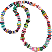 """SALE Whimsical and Colorful Disk and Round Bead Necklace 30"""""""