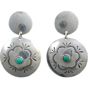 Sterling Silver Turquoise Concho Dangle Earrings
