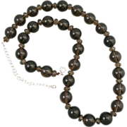 SOLD Smoky Quartz Large Bead Necklace 23""