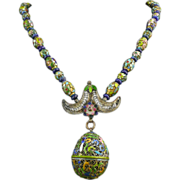 SOLD Chinese Enamel Bead and Pomander Necklace 31""