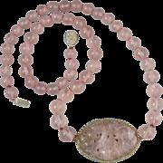 "SALE Vintage Carved Rose Quartz Pendant Necklace 25"""