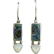 Sajen Silver Abalone and Mother of Pearl Earrings