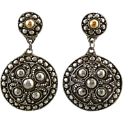 SALE Large Ornate Sterling Disk Dangle Earrings