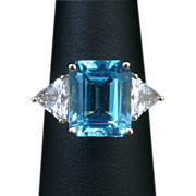 SALE 6ct Blue Topaz 14K Gold with CZ Accent Ring