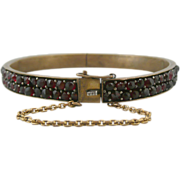 SALE Antique Bohemian Rose Cut Garnet Hinged Bangle Bracelet