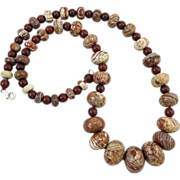"""SOLD Wood Agate and Poppy Jasper Necklace 25"""""""